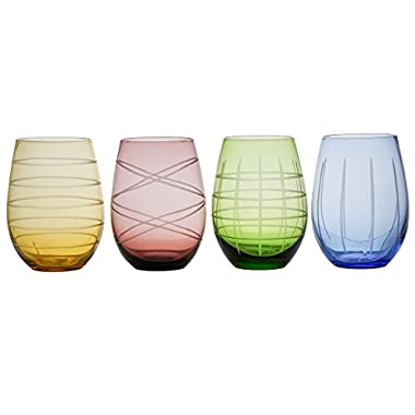 Fifth Avenue Crystal Medallion Colors Set of 4 Stemless Glasses