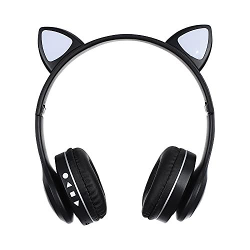 Freljorder 40-mm-Kopfhörer LED-Leuchtendes Katzenohr-Stereo-Bluetooth-Headset mit LED-Beleuchtung