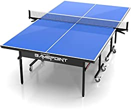 GamePoint Tables Indoor Ping Pong Table - Includes Tension Adjustable Clamp Style Net, Foldable Locking Caster Wheels, 1v1, 2v2, Playback Mode