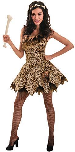Brandsseller Damen Kostüm Steinzeit-Frau Leoparden-Dress Party Junggesellinnenabschied Verkleidung S/M