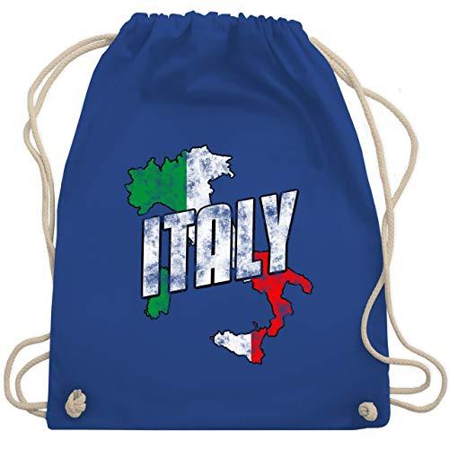 Länder - Italy Umriss Vintage - Unisize - Royalblau - italy bags - WM110 - Turnbeutel und Stoffbeutel aus Baumwolle