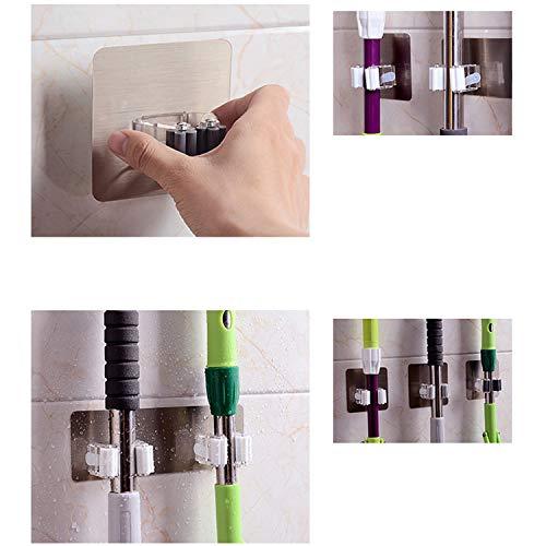Banbie Multifunktionales selbstklebendes nahtloses Stick-Mopp-Gestell Küchenbesenständer Badezimmerhaken mit Federclip