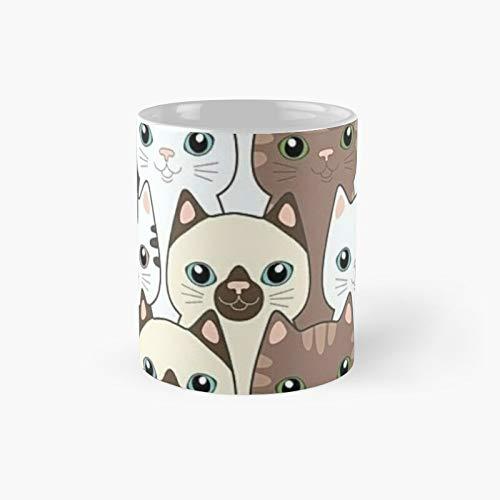 Taza clásica con diseño de camisa con texto en inglés 'Time Spent with Cats is Never Wastedgraphic   El mejor regalo divertidas tazas de café de 12 onzas