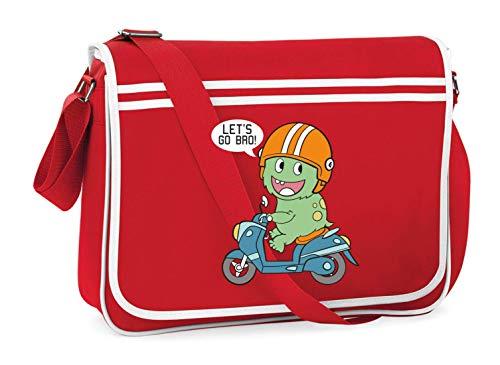 Druckerlebnis24 Schultertasche - Lets Go Bro Dinosaurier - Umhängetasche, geeignet für Schule Uni Laptop Arbeit