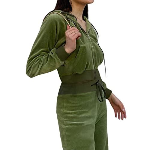 Chándal de mujer de terciopelo con cremallera con capucha y pantalones cortos de dos piezas trajes de manga larga para el salón, verde, M
