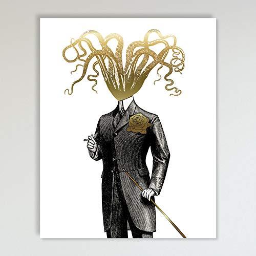 Gold Foil Art Print - Gentleman Octopus With Gold Foil Rose ...