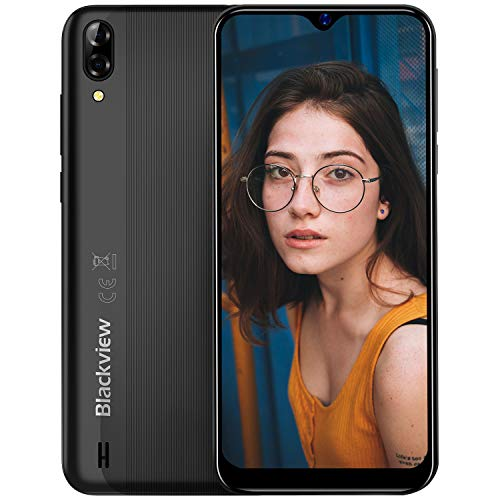 "Smartphone Libre, Blackview A60 Teléfono Móvil 16GB ROM (128GB SD), Pantalla 6.1"" Water-Drop Screen Movil, 13MP+2MP+5MP, 4080mAh Batería, Android 8.1 Movil Libre Dual SIM, GPS/WIFI/Hotspot-Negro"