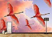 壁の壁画 壁紙 スカイピンクの雲フラミンゴ 壁画 壁紙 ベッドルーム リビングルーム ソファ テレビ 背景 壁 壁面装飾のための,200x140cm