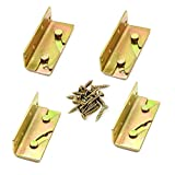 Socell 4 Sets Bed Rail Brackets Heavy Duty No-Mortise Bed Rail Fittings Wooden Bed Frame Connectors with Screws for Headboards Footboards Hold 500 pounds Maximum