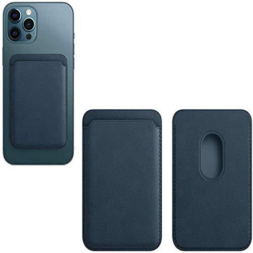 REMIFA Cartera de Cuero Compatible con iPhone 12 / Pro/MAX/Mini, con Tarjetero magnético RFID MagSafe, Tarjetero con imán para teléfono (Azul)
