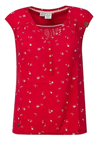 Ragwear Damen Salty A T-Shirt V-Ausschnitt, Frauen Shirt,Oberteil,Blusen-Shirt,Sommerbluse,ärmellos,Knopfleiste,Regular Fit,Rot,M