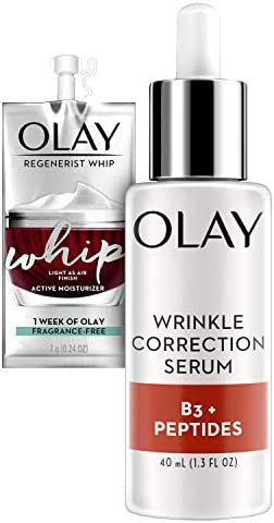 Olay Collagen Peptides Wrinkle Correction Serum with Vitamin B3 1 3 Oz Whip Face Moisturizer product image