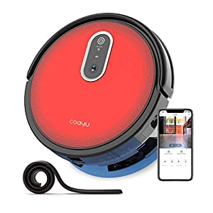 COAYU C560 Robot Vacuum Cleaner with Camera, Alexa App Control,Vacuum and Mop Hybird 2 in 1,Anti-Fall for Hard floors to Low-Pile Carpets(Red)