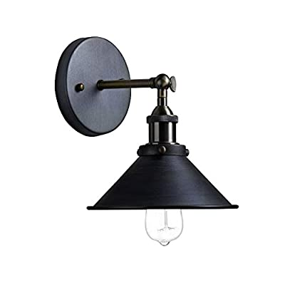 Injuicy Lighting Edison Bulbs Vintage Retro Industrial Wall Light Sconces Fixtures Outdoor Indoor Bedroom Bar Cafe Wall Lamp Aged Steel Painted Finished 2 Way Use 22cm