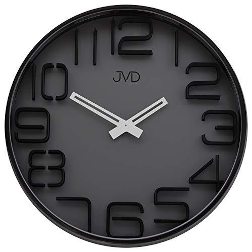 JVD HC18.2 Wanduhr Quarz analog rund schwarz anthrazit dunkelgrau