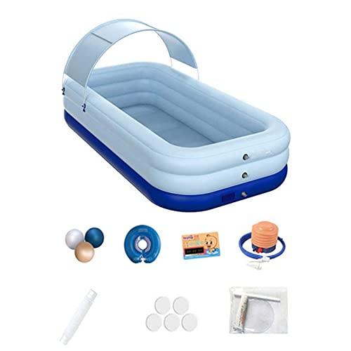 Piscina Inflable para Adultos Y Niños, Sombreado De PVC, Piscina Inflable Automática Inalámbrica, Jardín Interior Y Exterior, Piscina Grande De 2,1 M (Blue)