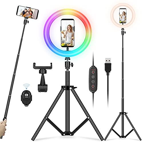 YISSVIC 10' Ring Light Anneau Lumière RGB 26 Couleurs 10 Niveaux de Luminosité avec Trépied Réglable Télécommande pour Selfie Youtube TikTok Vidéo