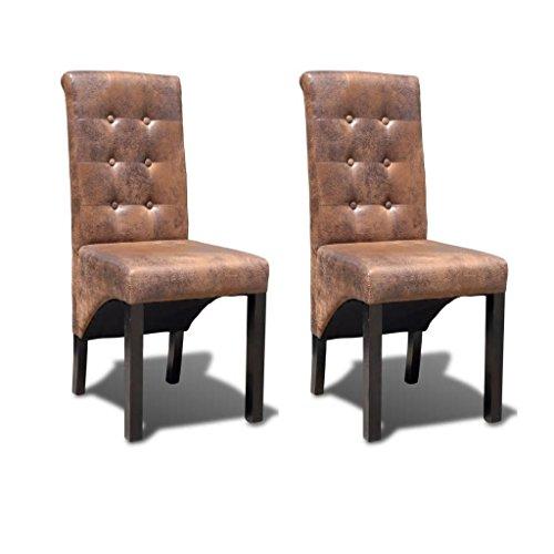 Festnight 2er Set Esszimmerstühle mit Hohe Rückenlehne | Küchenstuhl Polsterstuhl Wohnzimmerstuhl Stuhlgruppe | Braun Wildleder-Optik 42 x 56 x 95 cm