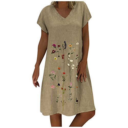 Ansenesna Kleid Damen Leinen Baumwolle Sommer Blumen Knielang Elegant Leichte Sommerkleider Frauen V Ausschnitt A Linie Kurzarm Leinenkleider...