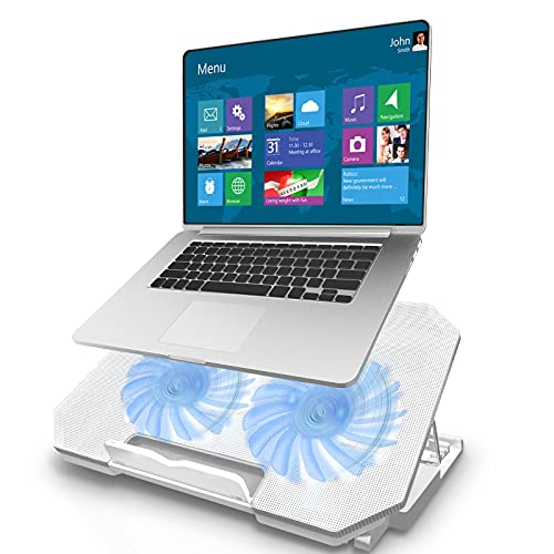 Tendak Laptop Cooling Pad, Laptop Cooler Cooling Pad, Laptop Cooling Bracket, with Two Turbo Fans, 2 USB Ports, 5 Adjustable Angles, Metal Plate, Noiseless Fan, suitable for 12-17 Inch Laptop (White)