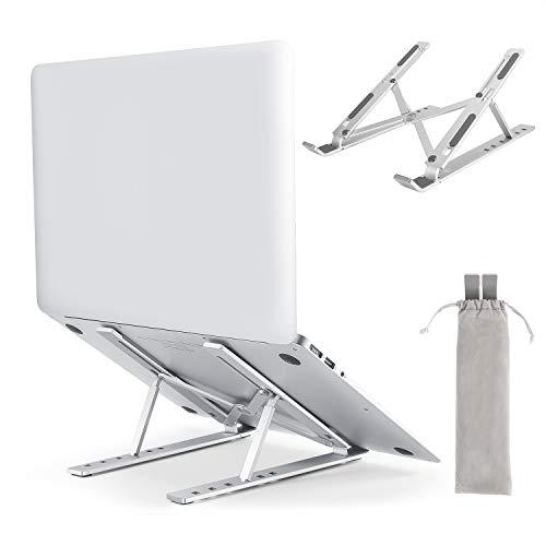 ノートパソコン スタンド 折りたたみ pc スタンド コンパクト PCホルダー アルミ合金製 6段の高さ調節可能 姿勢改善 軽量 持ち運びに便利 収納簡単 優れた放熱性 安定性 滑り止め付き タブレットPCスタンド ラップトップスタンド PC/iPad/Macbook/Macbook Pro 等10~17.3インチに対応