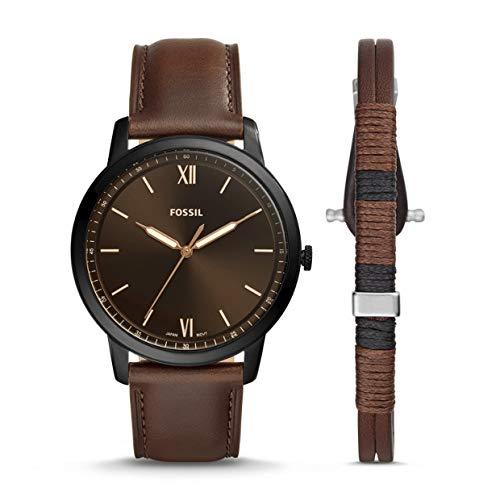 Fossil Heren Analoog Quartz Horloge met Lederen Band FS5557SET