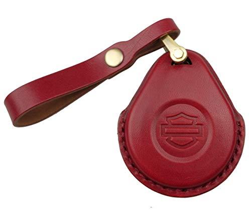 Portachiavi in pelle con fibbia e custodia in pelle su misura per la chiave di prossimità di Harley Davidson. Disponibile in quattro colori: nero, marrone, verde e rosso. (Rosso)