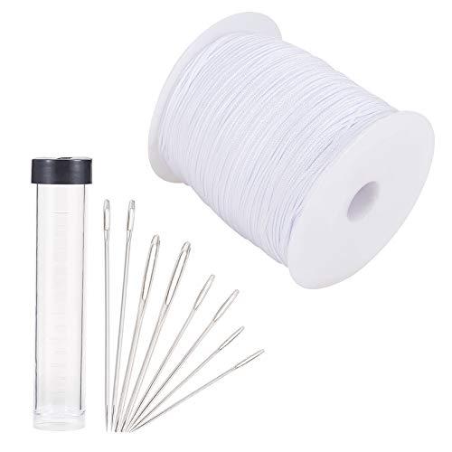 PandaHall Cable de elevación de 1 mm para persianas, cable de repuesto con 3 tamaños de agujas de coser para sombra ciega de aluminio, planta de jardinería, cortina y manualidades.