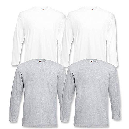 4 Fruit of the Loom T Shirt Longsleeve M L XL XXL Langarm verschiedene Farbsets auswählbar (S, Farbset 3)