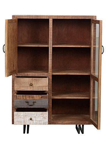The Wood Times Kommode Highboard Schrank Massiv Vintage Look New Rustic Mangoholz, BxHxT 95x135x45 cm - 4
