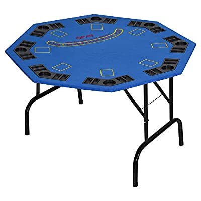 "Soozier 47"" 8 Player Folding Octagon Poker Table Blackjack Poker Game with Cup Holders"
