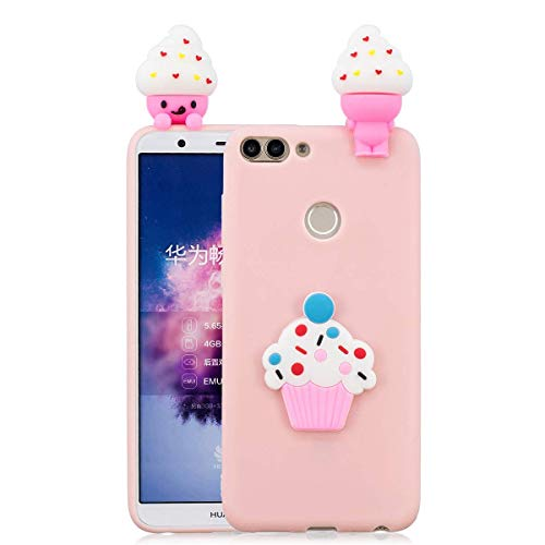 LAXIN Case for Huawei P smart, 3D Design Premium TPU Soft Silicone Gel Case with Cute Panda Pattern Flexible Protective Skin Cover for Huawei Enjoy 7S