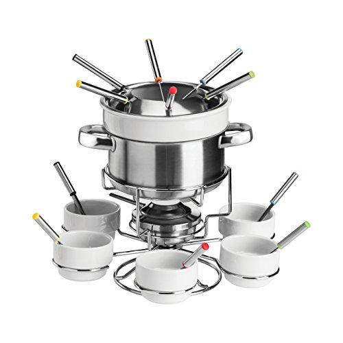 Premier Housewares Stainless Steel Fondue Set, Chocolate or Cheese, Porcelain Sets - White