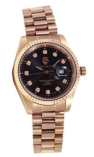 CAVADINI Leonardo Herren-Armbanduhr Edelstahl (Rosegold/schwarz)