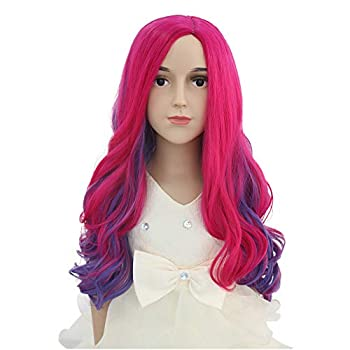 BERON Child Long Wave Pink and Purple Anime Women Wig Halloween Costume Cosplay Party Wig  Purple Pink