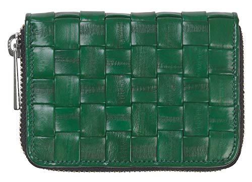 Becksöndergaard Damen Geldbörse Braidy Purse Grass Green Portemonnaie aus 100% Leder Grün Geflochten mit Reißverschluss - 100040-520