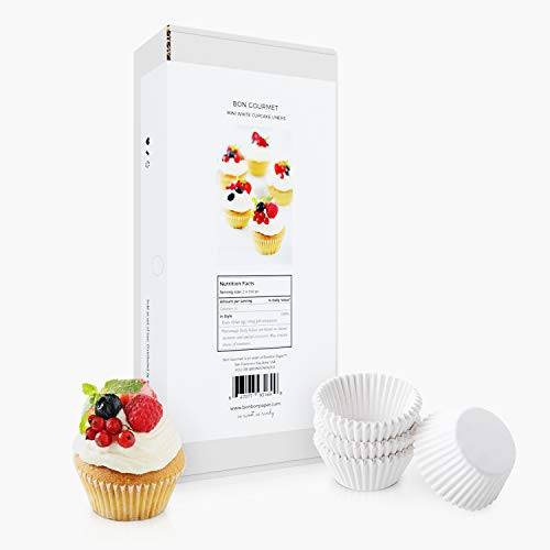 BonBon Paper Mini Cupcake Liners | Non-Toxic Food Grade White Paper Baking Cups for Mini Muffin Pan Liners & Mini Cupcake Liners | 1000 Mini Baking Cups