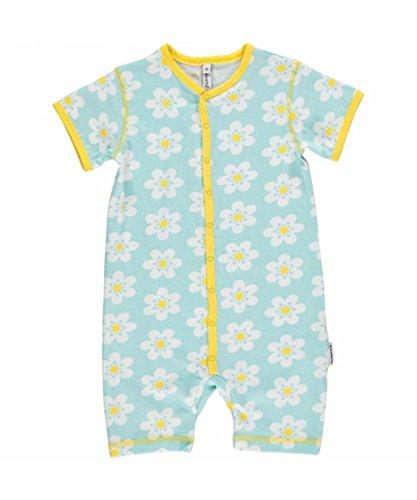 Maxomorra Baby Mädchen Strampler Hellblau Gänseblümchen Kinder GOTS Biobaumwolle - Größe: 80