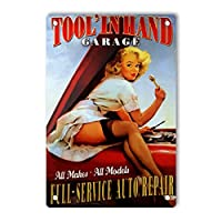 RCY-T Vintage Aluminum ブリキサイン, Full Service AUTO Repair Pin up Girl.jpg Retro Decor Sign Wall Poster for Men Cave Kitchen Home Bars Movie Pubs 20x30cm