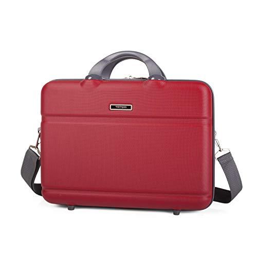TEMPO - maletín Cartera portadocumentos para portátil de 15 Pulgadas. abs. rígido Robusto y Interior Acolchado para portátil. Calidad y diseño. 67001, Color Rojo
