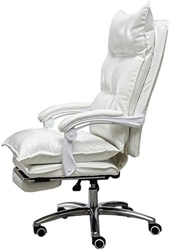 JFFFFWI Silla giratoria ejecutiva de Oficina Silla de Escritorio Acolchada de Cuero PU 170 & deg;Diseño reclinable con reposapiernas extendido y sillón reclinable de 10 cm de Altura Ajustable Reláj
