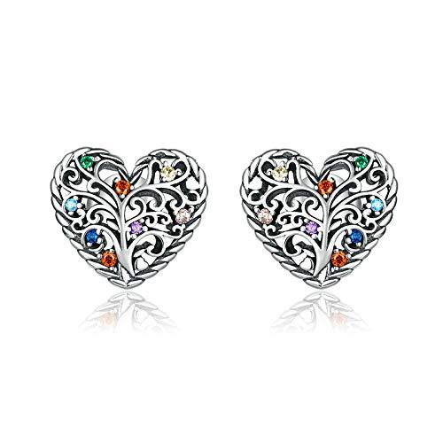 Joyería del árbol de la vida Pendientes de botón de plata esterlina 925 para mujer Pendiente de joyería de declaración de boda de plata