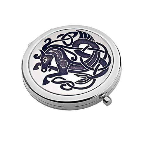 Stijlvol Oud Keltisch Paard Ontwerp Compact Spiegel Verkrijgbaar in 3 Kleuren Nieuw 6cm all round Purple/Lilac