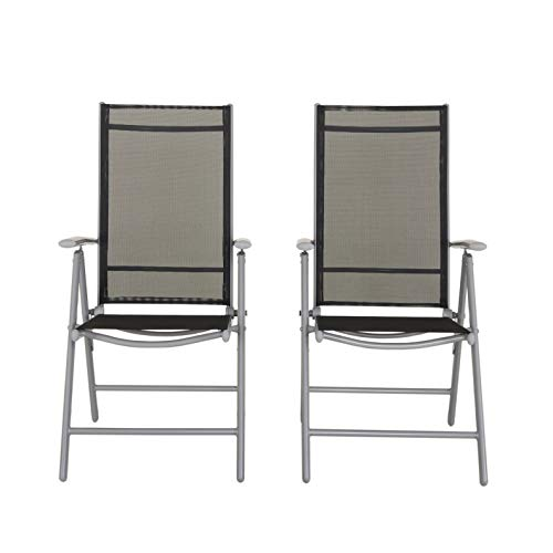 Chicreat - Silla plegable de aluminio con respaldo alto reclinable con 7 posiciones, plateado y negro (juego de 2)