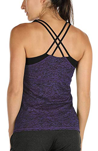 icyzone Damen 2 in 1 Sport Yoga Tops mit BH - Gym Shirts Fitness Trainings Tank Top (L, Purple)