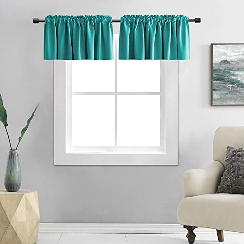 DONREN 12 Inches Long Valances for Windows - 2 Panels Blackout Window Valances for Basement with Rod Pocket (Teal,42 Inches Wide)