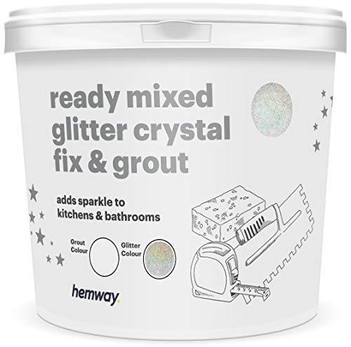Hemway - Reparatur- & Fugenmörtel mit Glitzer - fertig angerührt - für Fliesen, Badezimmer, Küchen - einfache Anwendung - Hitzebeständig für Fußbodenheizung - Farbecht & Rostfrei - 2,5 l