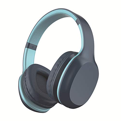LIMTT 5.0 Bluetooth-Kopfhörer, Kabelloses Over-Ear-Headset Mit Hi-Fi-Tiefenbass, Weiche Protein-Ohrpolster Mit Steckbarer TF-Kartenfunktion Für Die Reise Mit Dem Handy 2-Teilig Blau
