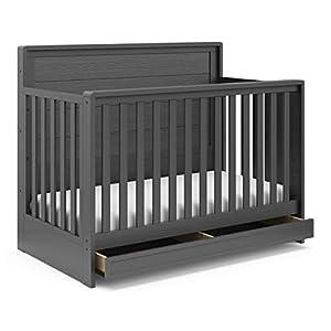 Storkcraft Luna 4-in-1 Convertible Crib with Drawer (Gray) – Full-Size Storage Drawer for Nursery Essentials, Adjustable Mattress Height, Fits Standard Size Crib Mattress, Converts into Full-Size Bed