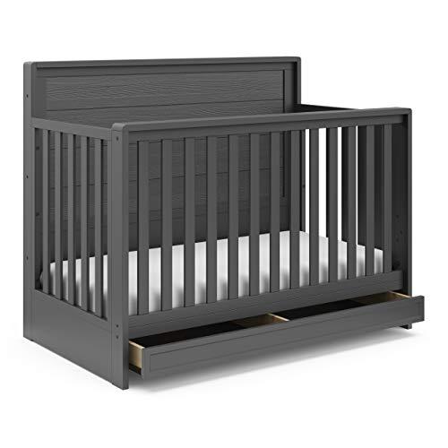 STORKCRAFT Luna 4in1 Convertible with Drawer FullSize Storage Drawer for Nursery Essentials Adjustable Mattress Height Fits Standard Size Mattress Converts into FullSize Bed, Gray